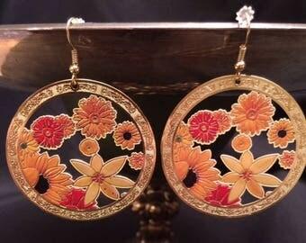 Yellow, Orange, and Brown Filigree Dangle Earrings; Drop Earrings, Filigree Earrings, Neutral Color Dangle Earrings, Statement Earrings
