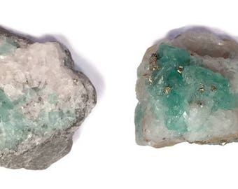 82 - Natural Raw Colombian Emerald Specimen - (Set of 2) Natural & Untreated