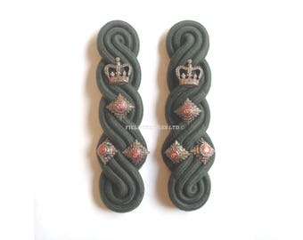 Green Shoulder Rank Brigadier Officers Epaulettes - 1 Pair - Tunic/Jacket/Uniform - British Army Military - E617