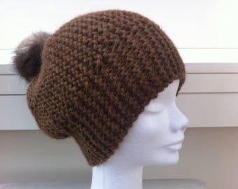 Wool Cap medium brown Alpaca with faux fur Pom Pom