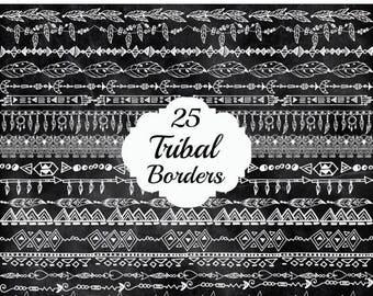 "SALE40% Chalkboard Tribal borders clipart: ""TRIBAL CLIPART"" Doodle borders Chalk borders Tribal graphics Native American clipart  Tribal doo"