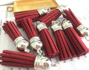 50pieces red suede leather Silver plastic caps ear tassel --for length 45mm