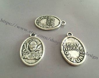 Wholesale 20Pieces /Lot Antique Silver Plated 25mmx16mm First Holly Communion word charms (#0104)