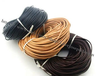 wholesale 100meters 2mm Black & Natural Brown and Brown round genuine/real leather cords(#0487)