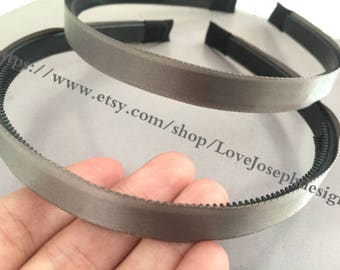 New 10pieces gray satin plastic hair headband covered 10mm wide(#0514)