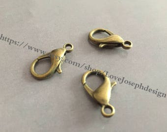 wholesale 50 Pieces /Lot Antique Bronze plated 11mmx21mm Lobster claw clasp(#0541)
