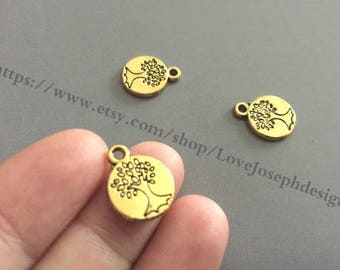wholesale 100 Pieces /Lot Antique gold Plated 15mm double life trees charms