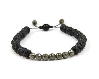 Urban Men's Pyrite & Lava Pull Tie Single Bracelet. Boho Jewelry. Bohemian Jewelry. Ideas for him. Gift for him.