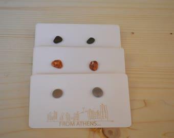 Beach pebble silver 925 stud earrings