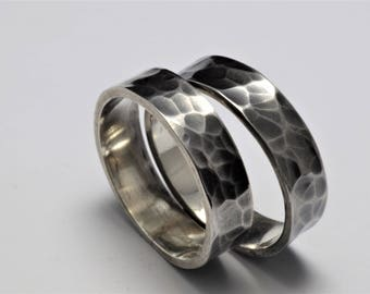 Hammer textured silver band