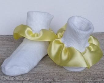 Yellow ruffle socks, Church socks, baby socks, fancy socks, satin ruffle socks, pageant socks, baby ruffle socks, Easter socks, spring sock