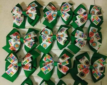 Girl Scout inspired hair bow, Girl Scout cookie hair bow, Its cookie time hair bow, Girl scouts, Brownies, Daisies