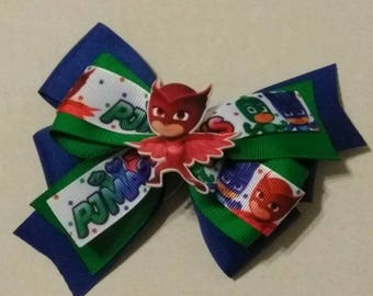 PJ Masks hair bow, character hair bow, girls hair bow, birthday bows, super hero bow, Owlette hair bow, kid super hero's, stacked bow