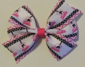 Barbie inspired hair bow, pink hair bow, character bow set, character headband, Character hair bow, baby hair bow, polka dot hair bow