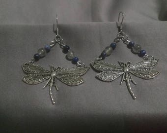 Dragonfly Earrings with Smoky Quartz and Sodalite