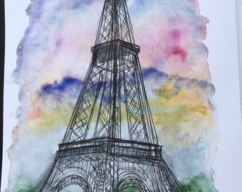 Original watercolour painting - Paris Eiffel Tower watercolour and ink