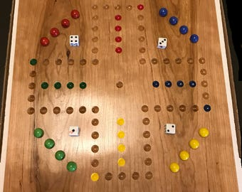 "15"" Walnut or Cherry 4 Player Aggravation Board (Wahoo) with Marbles, dice, and instructions."