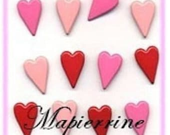 12 brads hearts pink lettering