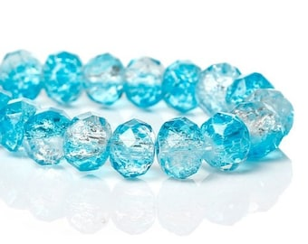 10 glass Crackle 8 mm Blue Crystal faceted beads