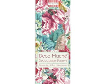 3 sheets of paper Deco mache 26 x 37.5 cm FIRST EDITION FLORAL BLOOM