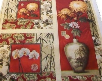 Fabric patchwork decoration array of flowers II 60 X 52 CM