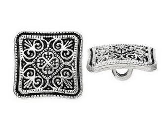 6 buttons square silver plated 1.3 cm DECORATION