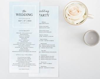 Wedding Program Template, Printable Wedding Program, Ceremony Printable, Instant Download, Editable PDF, French Blue Watercolor #SPP043bpr