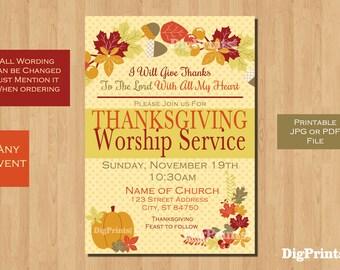 Thanksgiving Church Service Invitation Wording Best Custom
