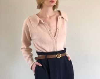 80s Angora Lambswool Button Front / Button Back Blush Sweater | XS S