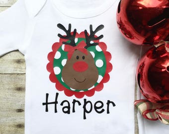 Baby Personalized Christmas Onesie, Baby Girl Christmas Onesie, Christmas Clothes, Christmas Outfit, Newborn Baby Onesie, Christmas Clothes