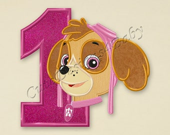 Paw Patrol Skye Number 1 applique embroidery design, Paw Patrol Machine Embroidery Designs, Embroidery designs baby, Instant download #040