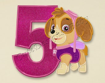 SALE! Paw Patrol Skye Fifth birthday applique embroidery design, Paw Patrol Machine Embroidery Designs, Embroidery designs baby, #081