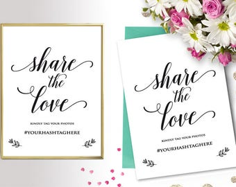 Share the Love Hashtag Sign, Editable Hashtag Sign, Hashtag Printable Template, Wedding Sign, Microsoft Word Format (docx), Instant Download