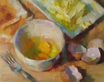 Egg Breakfast - original oil painting, alla prima oil painting, one of a kind