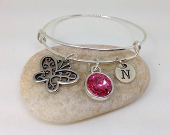 Butterfly Bangle, Birthstone Bracelet, Butterfly Personalized Bangle, Bridesmaid Gifts