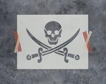 Pirate Stencil - Reusable DIY Craft Stencils of a Pirate Flag