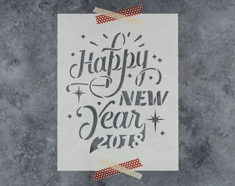 Happy New Year Stencil - Reusable DIY Craft Stencils of Happy New Year 2018