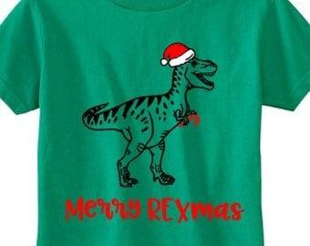 Toddler Dinosaur Christmas Shirt - Merry REXmas