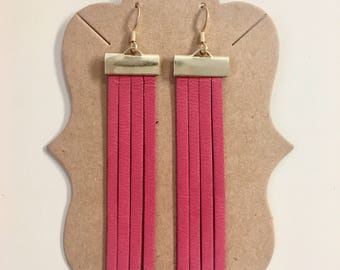 Fuchsia Fringe Statement Earring