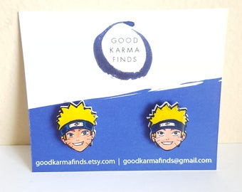 Naruto Uzumaki Stud Earrings | Shrink Plastic, Cute, Gift Idea, Anime.