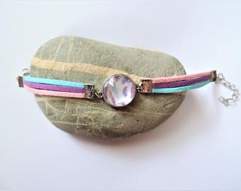 Bracelet cabochon suede ღ ღ ღ purple and pink feathers