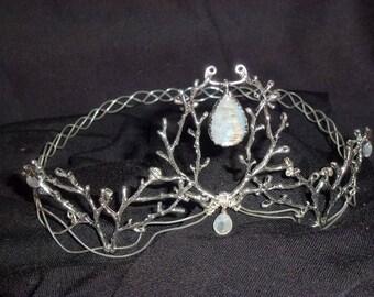 Wedding, woodland crown, Crown with 4 Rainbow moonstones, wedding, Bridal jewelry, fairy jewelry, elven fairy tiara branch