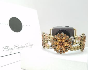 Apple Watch Band, Apple Watch 38mm, Apple Watch Band 42mm, Amber Flower and multi colored Beaded Apple Watch Band, Apple Watch Band Series 3