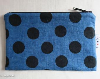 Linen zipper pouch, linen makeup bag, block printed clutch, indigo linen pouch, linen project bag, padded Kindle case