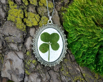 Genuine 4 Leaf Clover Cameo Necklace [BC 002] / Stainless Steel Chain / White Clover / Triforium Repens Clover / Good Luck Charm