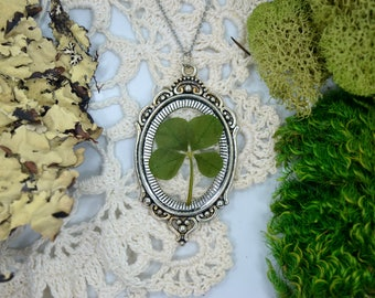 Genuine 4 Leaf Clover Cameo Necklace [LC 038] / Stainless Steel / White Clover Pendant / Triforium Repens Gift / Good Luck Charm