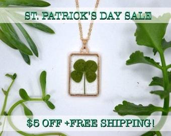 "SALE! Dainty Genuine 4 Leaf Clover Necklace [AC 015] /Rose Gold Tone 18"" Necklace / White Clover Pendant/Triforium Repens/Good Luck Charm"