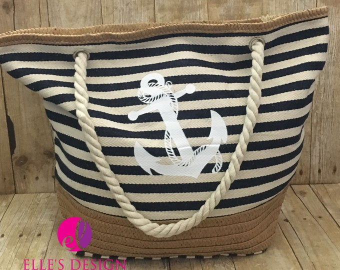 Featured listing image: Personalized Anchor Striped Navy Beach Bag - Rope Handle Striped Navy Tote - Canvas Anchor Beach Bag - Canvas Anchor Tote