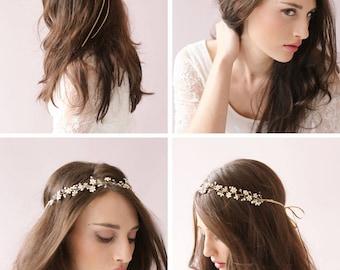 Wedding Head Vine/ Wedding Head Pieces/ Wedding Headband with Pearl and Crystal
