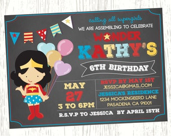Superhero Birthday Invitation Superman Spiderman Batman Captain America Ironman Thor